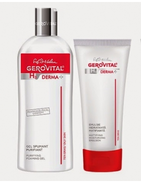 Gerovital Caseta Derma+ (Cr.Antiacneica 50ml+Gel Spumant Purifiant 200ml-CADOU)