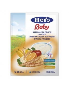 Hero Baby Cereale 8 Cereale Cu Fructe si Lapte 6+ 250g