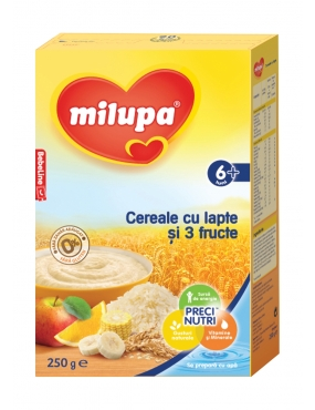 Milupa Cereale-Lapte 3 Fructe 250g