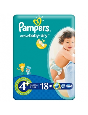 Pampers 4+ Active Baby 9-16kg x 18