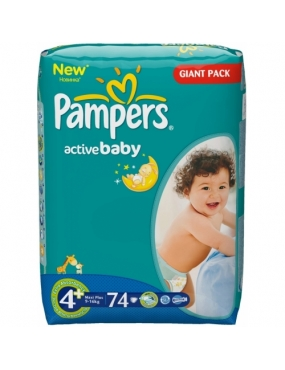 Pampers 4+ Active Baby 9-16kg x 74