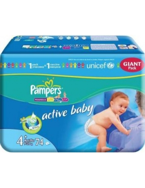 Pampers 4+ Active Baby 9-16kg x 74buc.
