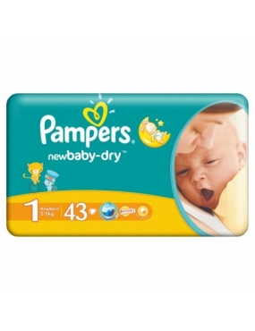 Pampers Baby Dry New Born 2-5kg x 43